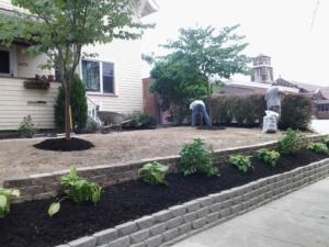 Hardscape Wall w/ Mulch and Plants